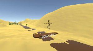un avatar saute dans le désert